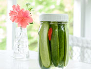Spicy Quick Pickled Cucumbers  found on PunkDomestics.com