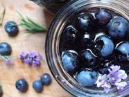 Blueberries in Vanilla Bean Syrup + Lavender found on PunkDomestics.com