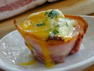 Pancetta Cups w/ Eggs, Mushrooms + Cheese