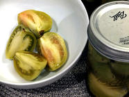 Habanero & Ginger Pickled Green Tomatoes found on PunkDomestics.com