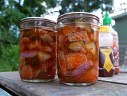 Sriracha Pickled Eggplant & Zucchini found on PunkDomestics.com