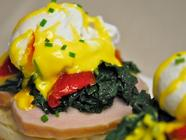 Eggs Benedict with Kale and Roasted Tomatoes