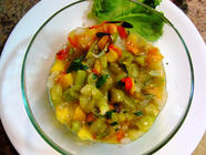 Roasted Peach Tomatillo Salsa found on PunkDomestics.com