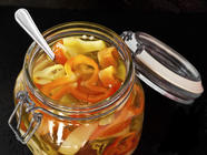 Easy Pickled Banana Peppers Recipe found on PunkDomestics.com