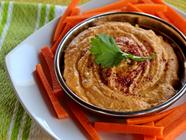 Roasted Red Bell Pepper Hummus found on PunkDomestics.com
