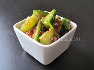 Easy Cucumber Kimchi (Oi Kimchi) found on PunkDomestics.com
