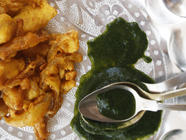 Cilantro Chutney for Onion Bhajis  found on PunkDomestics.com