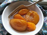 Roasted Peaches in Light Honey Syrup