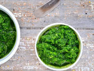 Easy Spinach Almond Pesto found on PunkDomestics.com