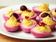 Beet-Pickled Deviled Eggs found on PunkDomestics.com